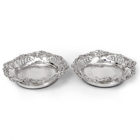 Pair of Antique Silver Plated Coasters with Cast Grape and Vine Borders