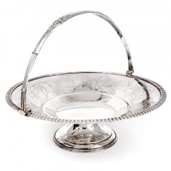 Antique Silver Plated Basket Engraved with Classical Figures, Elephants and Horses
