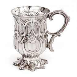 Antique Silver Plated Christening Mug Constructed From Four Embossed Panels