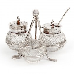 Antique Edwardian Silver Plated Golf Cruet with Three Cut Glass Bottles (c.1910)