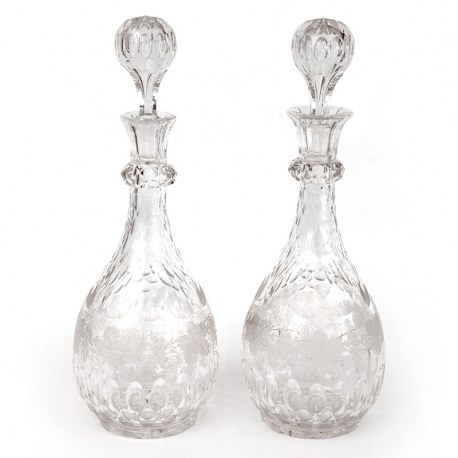 Pair of Antique Cut Glass Decanters Hand Engraved with Grape and Vine Decoration