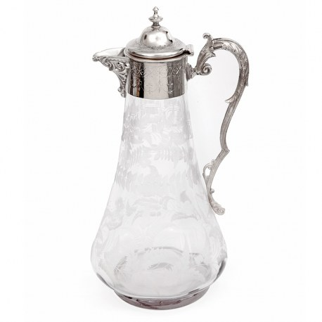 Antique Silver Plated Claret Jug with a Hand Engraved Glass Body (Circa 1890)