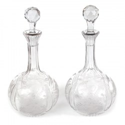 Pair of Antique Engraved Glass Decanters with Engraved Onion Shaped Bodies