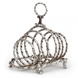 Antique Silver Plated Toast Rack with Six Rope Style Hooped Divisions (c.1890)