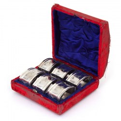Six Boxed Antique Aesthetic Movement Silver Plated Napkin Rings Engraved with Herons