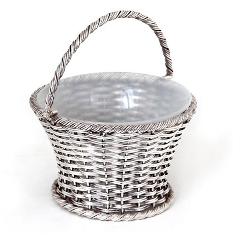 Antique Silver Plated Sugar Basket with a Woven Wire Work Body and Original Opeline Liner