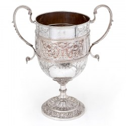 Antique Silver Plated Trophy Cup Embossed with Agricultural Machinery and Steam Engines