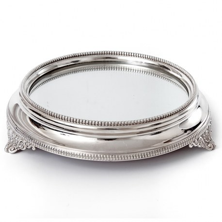 Elegant Antique Silver Plated Mirror Plateau Cake Stand (c. 1875)