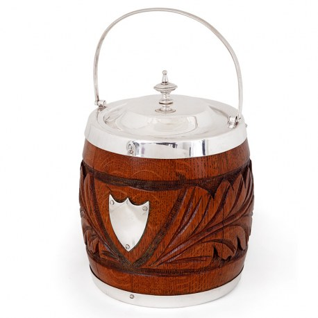 Antique Edwardian Carved Wood and Silver Plated Barrel (c. 1910)