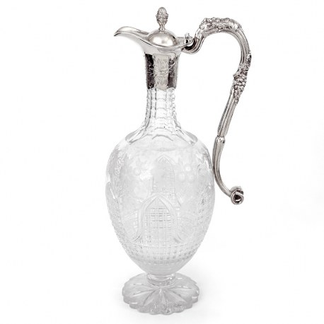 Victorian Engraved and Cut Glass Silver Plated Claret Jug with a Cast Grape and Vine Scroll Handle