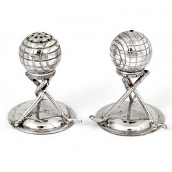 Pair of Antique Silver Plated Golf Theme Salt and Pepper Condiments (c.1910)