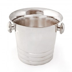 Art Deco Style Silver Plated Ice Bucket with a Plain Stepped Body