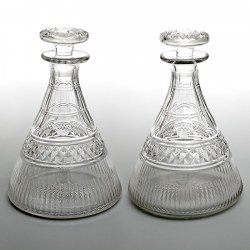 Pair of Antique Georgian Style Ships Decanters (Circa 1900)