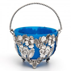 Silver Plated Sugar Basket Pierced and Embossed Floral Decoration Body and Opeline Liner