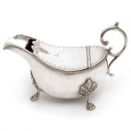 Antique Victorian Silver Plated Sauce Boat with an Unusual Hinged Engraved Lid