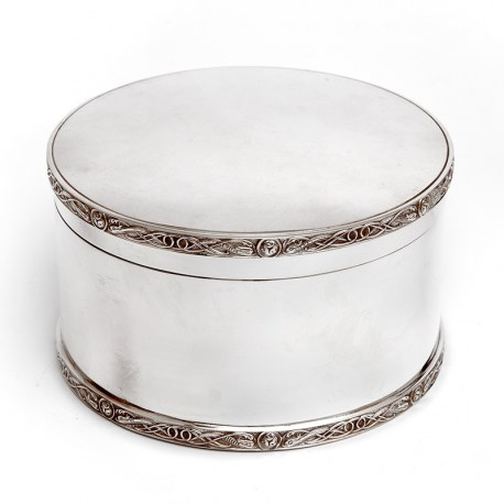 Antique Atkin Brothers Circular Silver Plated Biscuit or Trinket Box (c.1890)