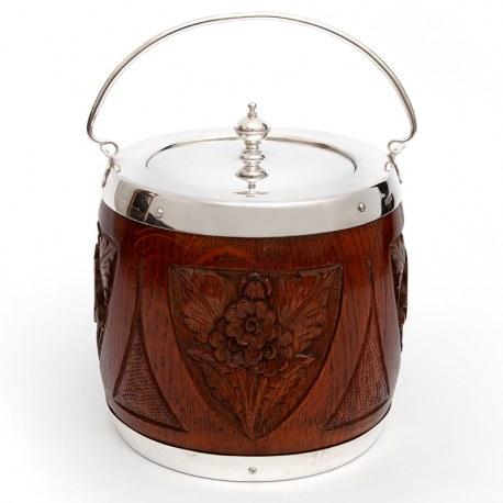 Edwardian Biscuit Barrel with Silver Plated Mounts and Carved Oak Body