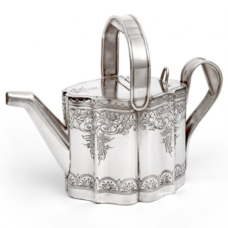 Victorian Novelty Silver Plated Watering Can with Floral and Scroll Engraving and Looped Handle