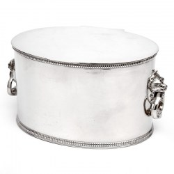 Cooper Brothers Oval Silver Plated Biscuit or Trinket Box Lion and Loop Handles