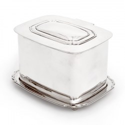 Silver Plated Box with a Hinged Lid and a Domed Chippendale Style Empty Cartouch