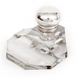 German 800 Grade Silver and Glass Ink Stand with a Hinged Bun Style Lid