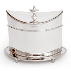 Oval Mappin & Webb Silver Plated Box with an Urn Shaped Finial