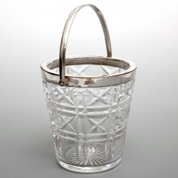 Vintage Mappin & Webb Silver Plate and Cut Glass Ice Pail (c.1940)