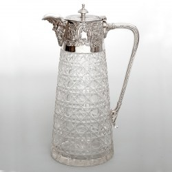 Victorian Silver Plated and Cut Glass Claret Jug with a Cast Bacchus Spout