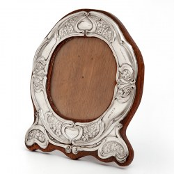 Art Nouveau Silver Photo Frame with Repousse Stylised Floral Decoration