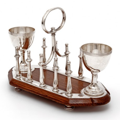 Antique Oak and Silver Plated Toast Rack with Two Egg Cups (c.1890)