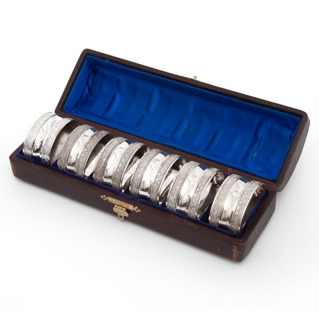 Six Numbered Oval Victorian Silver Plated Napkin Rings