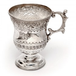 Silver Plated Christening Mug with Floral and Scroll Decoration and Applied Figural Handle