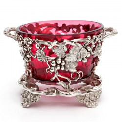 Antique Silver Plate Sugar Basket with a Cranberry Glass Liner and Grape and Vine Sides