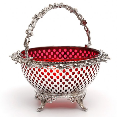 Silver Plated Basket with a Pierced Body and Red Cranberry Glass Liner