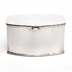 Art Deco Silver Plated Biscuit or Trinket Box with a Plain Body and Hinged Lid