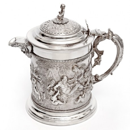 Victorian Henry Bourne Silver Plated Beer Jug Decorated with Rams and Putti