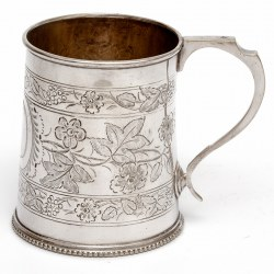 Antique Silver Plated Christening Mug with Floral Scenes and Bracket Handle