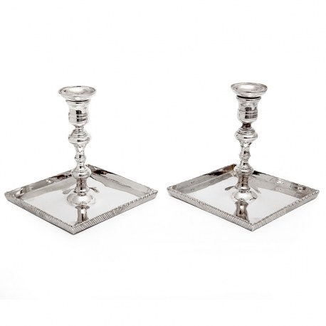 Pair of Thomas Bradbury Silver Plated Candle Sticks with Square Dish Shaped Bases