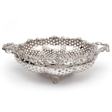 Silver Plated Circular Basket with a Cast Grape and Vine Border and Rustic Handles