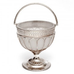 Antique Silver Plated Sugar Basket with the Original White Frosted Opeline Glass Liner