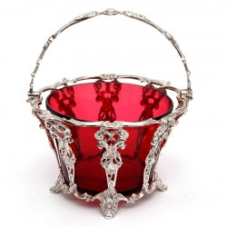 Antique Silver Plated Sugar Basket with a Red Cranberry Glass Liner (c.1880)