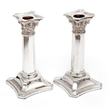 Pair of Martin Hall & Co Silver Plated Candle Sticks with Corinthian Capitals