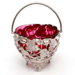 Antique Silver Plated Sugar Basket with a Red Cranberry Glass Liner (c.1885)