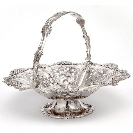 Large Martin Hall & Co Silver Plated Fruit Basket with Grape and Vine Borders