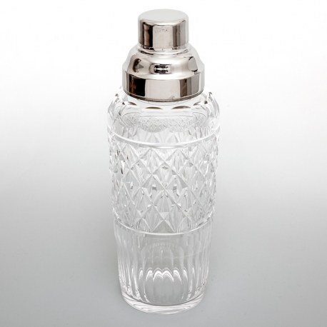 Vintage Cut Glass and Silver Plated Cocktail Shaker with an Internal Ice Strainer