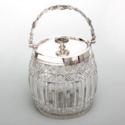 Victorian Cut Glass and Silver Plate Barrel with a Roman Motif Swing Handle