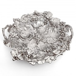 Victorian Silver Plated Fruit Dish with Grape and Vine Border (c.1875)