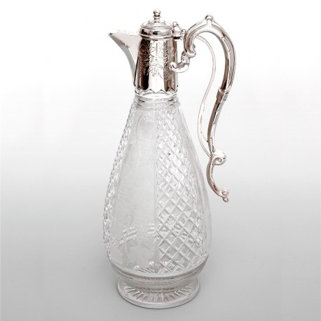 Silver Plated Claret Jug with a Spring Action Operated Hinged Lid