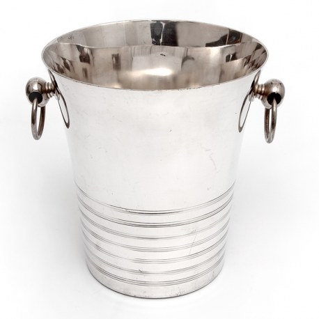 Large Art Deco Style Silver Plated French Ice Bucket with Looped Handles