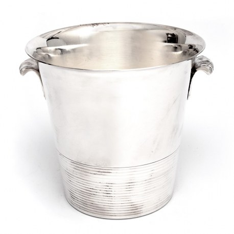 Vintage Art Decco Style Silver Plated Ice Bucket with Reeded Tab Handles